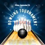 Calibre d'insecte de tournoi de bowling avec la cour de bowling, quilles illustration stock