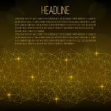 Calibre d'insecte Grille abstraite d'or avec des étincelles sur un fond noir Il y a place pour le texte Photo stock