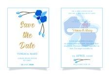 Calibre d'invitation d'événement de mariage de mariage avec l'orchidée bleue illustration de vecteur
