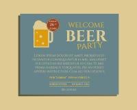 Calibre d'invitation d'affiche de partie de bière avec le verre illustration de vecteur