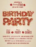 Calibre d'invitation de fête d'anniversaire avec des lettres de pizza illustration de vecteur