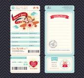 Calibre d'invitation de mariage de billet de carte d'embarquement de bande dessinée illustration stock
