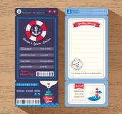 Calibre d'invitation de mariage de billet de carte d'embarquement de bateau de croisière illustration stock