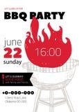 Calibre d'invitation de partie de BBQ de grunge pour des affiches, insectes Manu de gril de barbecue sur le fond blanc Rétro styl Images stock