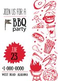 Calibre d'invitation de partie de BBQ de grunge pour des affiches, insectes Manu de gril de barbecue sur le fond blanc Rétro styl Images libres de droits