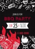 Calibre d'invitation de partie de BBQ de grunge pour des affiches, insectes Manu de gril de barbecue sur le fond foncé Rétro styl Image libre de droits