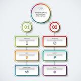 Calibre d'organigramme d'Infographic avec 2 cercles d'option et 6 étiquettes illustration de vecteur