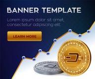 Calibre de bannière de Cryptocurrency dash pièce de monnaie physique isométrique du peu 3D Pièces de monnaie d'or et argentées de Photos libres de droits