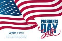Calibre de bannière d'offre spéciale des Présidents Day Sale des Etats-Unis avec onduler le drapeau national américain illustration de vecteur