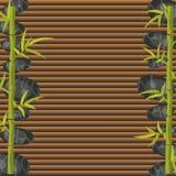 Calibre de bannière de salon de station thermale Roches de bambou et de caillou Photographie stock libre de droits