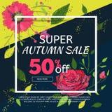 Calibre de bannière de vente d'automne avec des fleurs de broderie Images libres de droits