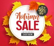 Calibre de bannière de fond de vecteur de vente d'automne avec l'espace blanc de cercle illustration stock