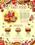 Calibre de bannière de menu d'hamburger et de sandwich d'aliments de préparation rapide Photographie stock libre de droits