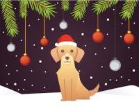 Calibre de bannière de Noël avec le chien, les boules, les rubans et la décoration Fond de branches d'arbre de nouvelle année Images stock