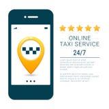 Calibre de bannière de service de taxi Concept mobile en ligne du service APP d'ordre de taxi Goupilles de point d'itinéraire de  illustration stock