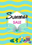 Calibre de bannière de vecteur de vente d'été avec l'illustration d'accessoires d'été illustration libre de droits