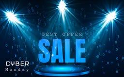 Calibre de bannière de vecteur de vente de lundi de Cyber Fond brillant bleu de code binaire Images libres de droits
