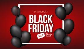 Calibre de bannière de vente de Black Friday pour le Web, production de conception d'impression Ballon à air noir sur le fond de  Photos stock