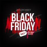 Calibre de bannière de vente de Black Friday pour le Web, production de conception d'impression Texte blanc sur le fond de noir d Photographie stock libre de droits
