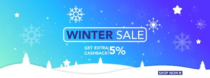 Calibre de bannière de vente d'hiver avec des flocons de neige, vente d'achats de neige de glace fin d'illustration de vecteur d' illustration libre de droits