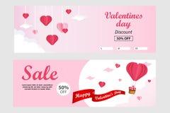 Calibre de bannière de vente de jour de valentines dans le format horizontal - illustration de vecteur à l'arrière-plan coupé de  illustration libre de droits