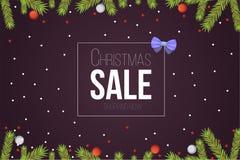 Calibre de bannière de vente de Noël avec les rubans et la décoration de boules de scintillement Fond de branches d'arbre de nouv Images libres de droits