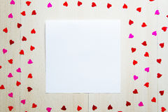 Calibre de blanc de vintage de jour du ` s de St Valentine pour le texte de salutation avec Photo stock