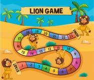 Calibre de Boardgame avec des lions dans le désert illustration stock