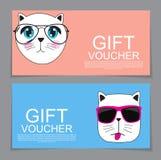 Calibre de bon de cadeau avec Cat Discount Coupon tirée par la main mignonne V Photographie stock libre de droits
