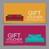 Calibre de bon de cadeau avec la variation de Sofa Discount Coupon Vec Images libres de droits