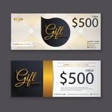 Calibre de bon de cadeau avec le modèle d'or, chèque-cadeaux Backg Photo stock