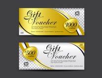Calibre de bon de cadeau d'or, conception de bon, chèque-cadeaux illustration libre de droits