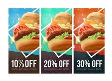 Calibre de bon de remise d'hamburger d'aliments de préparation rapide illustration libre de droits