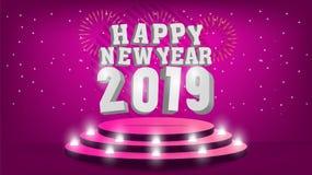 Calibre de 2019 bonnes années avec la conception créative de fond pour votre carte de voeux, invitation, affiches, brochure, bann illustration de vecteur