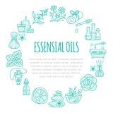 Calibre de brochure d'Aromatherapy et d'huiles essentielles, affiche de cercle Illustration au trait vecteur de diffuseur de thér Image stock