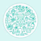Calibre de brochure d'Aromatherapy et d'huiles essentielles, affiche de cercle Illustration au trait vecteur de diffuseur de thér Images libres de droits