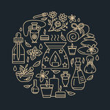 Calibre de brochure d'Aromatherapy et d'huiles essentielles, affiche de cercle Illustration au trait vecteur de diffuseur de thér Images stock