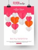 Calibre de brochure de jour de valentines avec les coeurs de papier Image stock