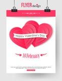 Calibre de brochure de jour de valentines avec les coeurs de papier Photos libres de droits