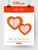 Calibre de brochure de jour de valentines avec les coeurs de papier Images stock