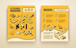 Calibre de brochure de vecteur d'analyse de KPI de société illustration de vecteur
