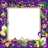 Calibre de cadre avec les masques d'or de carnaval sur le fond noir Frontière de fête de célébration éclatante Vecteur illustration de vecteur
