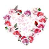 Calibre de cadre de fleurs de pavots Illustration tirée par la main colorée d'aquarelle et de gouache avec l'espace pour le texte illustration libre de droits