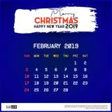 Calibre de calendrier de 2019 f?vrier Fond de bleu de Joyeux No?l et de bonne ann?e illustration libre de droits