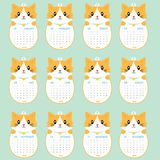 Calibre de 2018 calendriers Animal formé, Cat Calendar Cartoon Vector mignonne Photographie stock libre de droits
