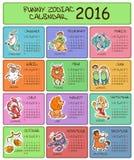 Calibre de 2016 calendriers avec des signes de zodiaque Photographie stock libre de droits