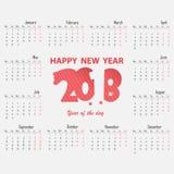 Calibre de 2018 calendriers Ensemble du calendrier 2018 de 12 mois Débuts pour Images stock