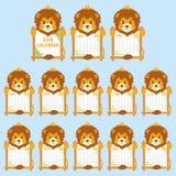 Calibre de 2018 calendriers Vecteur mignon de bande dessinée de calendrier du lion formé par animal 2018 Image stock