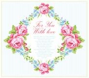 Calibre de carte avec des roses de rose de jardin Photos libres de droits