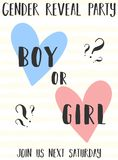 Calibre de carte d'invitation avec le rose et les coeurs bleus et les mots garçon ou fille sur un fond rayé jaune Illustration f  illustration stock